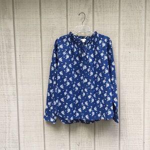 J. Crew blue floral ruffle popover blouse, M